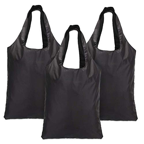 Luxja Reusable Grocery Bags Set of 3, Foldable Shopping Bags with Attached Pouch, Washable, Durable and Lightweight, Black