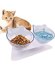 15°Tilted Platform Double Bowl Cat Feeder,Raised Cat Food and Water Bowls with Stand No Spill,Reduce Pets Neck Pain for Cats and Small Dogs (Transparent)