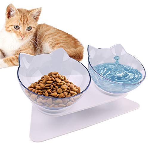 15°Tilted Platform Double Bowl Cat Feeder,Raised Cat Food and Water Bowls with Stand No Spill,Reduce Pets Neck Pain for Cats and Small Dogs (Double-bowls)
