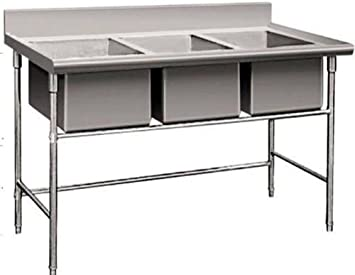 Amazing 3 Compartment Commercial Stainless Steel Sink Wash Basin Table