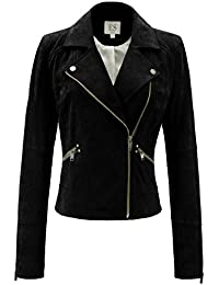 Women`s Genuine Leather Jacket Moto Biker Coat