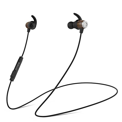 Price comparison product image Bluetooth Headphones, dodocool Wireless Noise Cancelling Headset with HD Microphone In-Ear Sport Earphones IPX5 Waterproof Wood Earpiece for Most Bluetooth-enabled Smart Devices Black