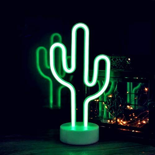 QiaoFei Cactus Neon Signs Neon Lights with Holder Base Decor Light,LED Cactus Sign Shaped Decor Light,Marquee Signs/Wall Decor for Christmas,Birthday Party,Kids Room,Living Room,Wedding Party Decor for $<!--$13.99-->