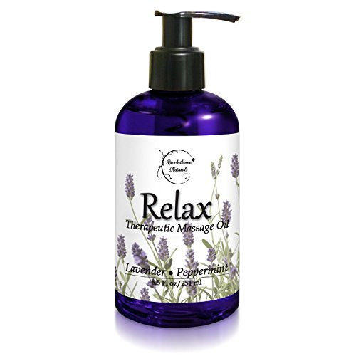 Stress Massage Oil (Brookethorne Naturals Relax Therapeutic Body Massage Oil, Lavender, Peppermint and Marjoram - 8.5)