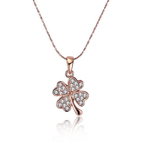 Four Leaf Clover Necklace Chain --18K Rose Gold Valentine's Day gift Christmas gift ()