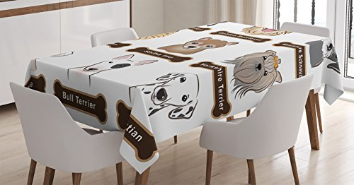 (Dog Lover Decor Tablecloth by Ambesonne, Various Type of Dogs Nameplate Boston Terrier domestic animal Faithful Loyal, Rectangular Table Cover for Dining Room Kitchen, 52x70 Inch, Grey Cream White)