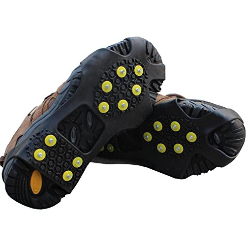 Tresbro Ice Cleets, Snow & Ice Grips Traction Cleats Over Boots/Shoes, 10 Steel Studs Crampons Spikes for Walking, Hiking, Climbing, Running, Driving (Sizes:S/M/L/XL)