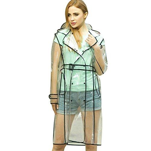 OVOV Women's EVA Transparent Raincoat Lightweight Portable Rainware Waterproof Rain Jacket (Belted Womens Raincoat)