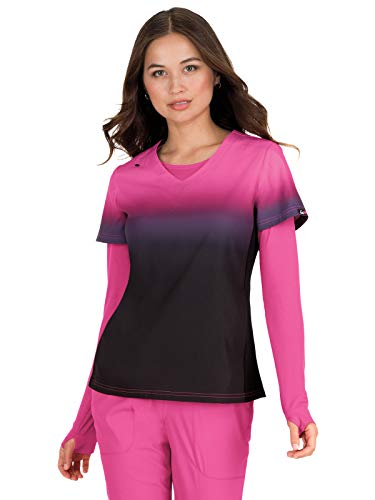 - KOI Lite Women's Reform Ombre V-Neck Scrub Top- Flamingo/Black- X-Large