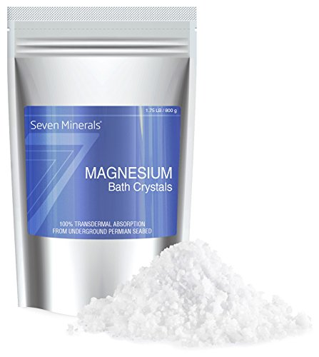 NEW Seven Minerals Magnesium Chloride Bath Crystals For Relaxation - Foot Soak (9 uses)+ Full Bath Soak (5 uses) for Restless Legs, Cramps, Muscle Pain & Migraine Relief (1.75 (Feet Mineral Crystal)