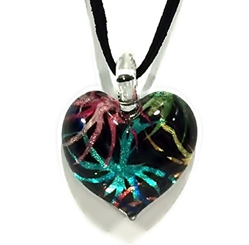 Handmade Heart Glass Pendant Glass Blown Necklace Jewelry – No.1