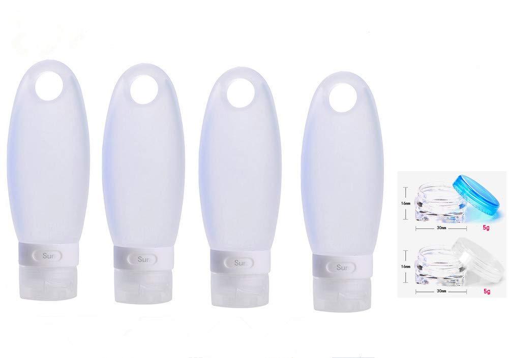 2 Pack Equipaje de Viaje Viajes Botellas Botellas cosm/éticas de Silicona contenedores Proteger Piel a Gusto Botella peque/ña 3.3 FL oz 98ml