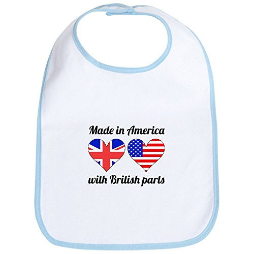 CafePress - Made In America With British Parts Bib - Cute Cloth Baby Bib, Toddler Bib