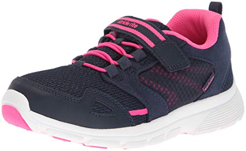 Stride Rite Girls' Made 2 Play Taylor Sneaker, Navy/Pink, 2 M US Little Kid