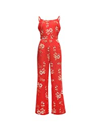 HongMong Jumpsuit Floral Strappy Womens Casual Wide Romper Legs Loose Playsuit Trousers
