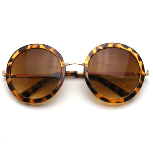 New Round Circle Fashion Designer Celebrity Womans Sunglasses (Tortoise - Shipping Cheap Free Lenses Circle