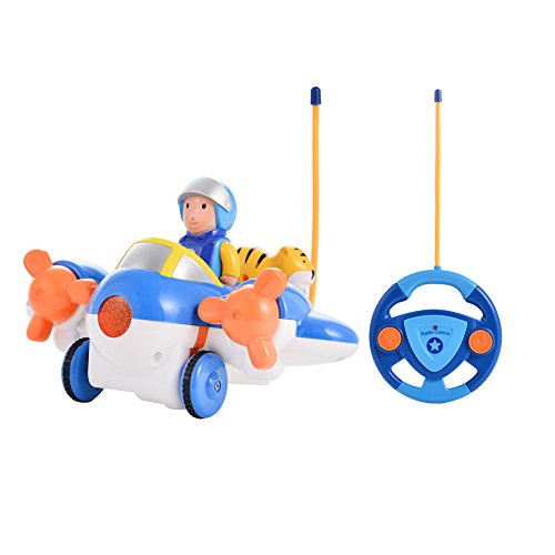 ol Cartoon Airplane Toy R/C Toy with Music and Light for Toddlers ()