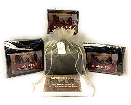 Gift Bundle, 11.00 Savings- 3 Anti-Tarnish Prevention Bags Storage For Heirloom Silver Wares + 1 Silver Polishing Cloth, Gift Wrapped For Mother, Grandmother, Aunt Or Uncle with Old Silver Collections
