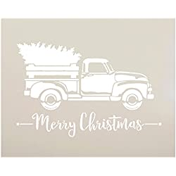 "Little Red Truck with Merry Christmas Stencil by StudioR12 | for Painting Wood Signs | Vintage Script Lettering | Retro Holiday Home Decor | Rustic Old Fashioned Holiday : Choose Size (15"" x 12"")"