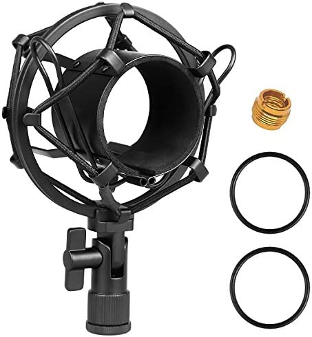 Moukey Universal 51MM Microphone Shock Mount for 48MM-54mm Diameter Condenser Mic for Audio-technica AT2020 USB PR40 RE20 AT4033a AT2050 Large Diameter Studio Condenser Mic Anti-Vibration Mic Holder