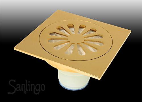 Bodenablauf Abfluss 11 x 11 cm Gold Dusche Bad Keller Geruchsverschluss Garage Sanlingo