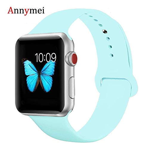 for Apple Watch Band, Annymei Durable Soft Silicone Replacement iWatch Band Sport for Apple Watch Band Series 4 Series 3 Series 2 Series 1 Sport, Edition (Gem Green, 38mm(40mm) S/M)