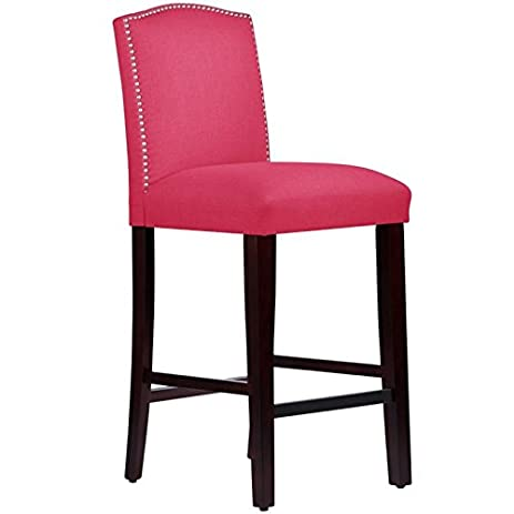 Skyline Furniture 31u0026quot; Arched Bar Stool In Linen Fuschia