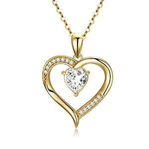 """14K Solid Gold Heart Necklace for Women, Dainty Gold Crystal Love Heart Pendant""""Love You Forever"""" Jewelry Gift for Mom, Wife, Girlfriend 16″-18″"""