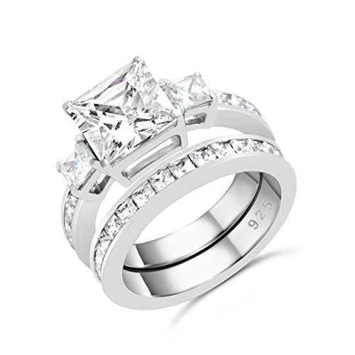 Sterling Silver Past Present Future Princess Cut CZ Engagement Ring Set