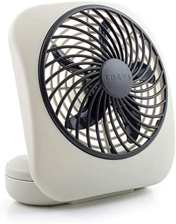 O2COOL Treva 5-Inch Portable Desktop Air Circulation Battery Fan 2 Cooling Speeds, Compact Folding Tilt Design, Grey