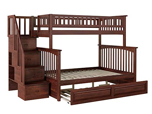Atlantic Furniture AB55734 Columbia Staircase Bunk Bed with Raised Panel Trundle Bed, Twin/Full, Walnut