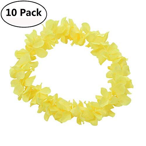 Genenic 10 Pack Hawaiian Artificial Flowers Leis Garland Necklace Fancy Dress Party Hawaii Beach Fun Flowers DIY Party Beach Decoration -