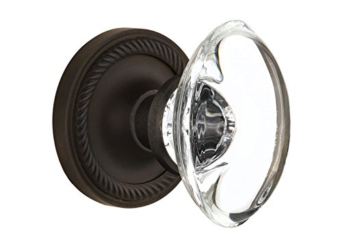 Nostalgic Warehouse Rope Rosette with Oval Clear Crystal Glass Knob, Double Dummy, Oil Rubbed (Crystal Dummy Knob Set)