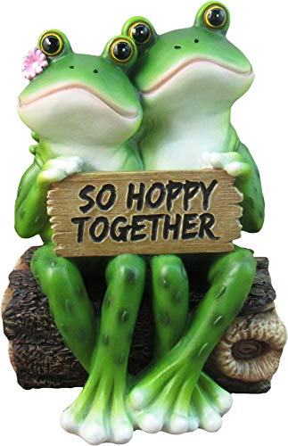 DWK - So Hoppy Frogs - Happy Frog Couple So Hoppy Together Fun Decor Figurine Valentine Romantic Statue for Home Garden Patio and Office, 6.5-inch from DWK