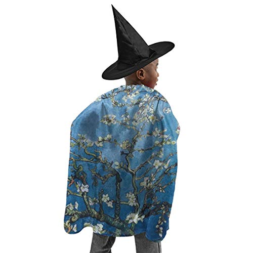 Van Gogh Halloween Costume Kids (Unisex Kids Polyester Hooded Cloak Cape Almond Blossoms by Vincent Van Gogh Halloween Party Decoration Role Cosplay Costumes)