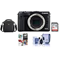 Canon EOS M3 Mirrorless Digital Camera Body, Black - Bundle with Camera Bag, 16GB Class 10 SDHC Card, Cleaning Kit, Pro Software Package