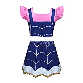 - 41YdwJDLQWL - Alvivi Kids Girls Vampire Costume Dress Ruffled Sleeves Crop Top with Skirt Outfit for Halloween Theme Party