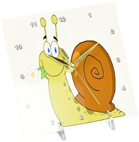 3dRose dc_118740_1 Happy Cartoon Snail with Flower Desk Clock, 6 by 6-Inch