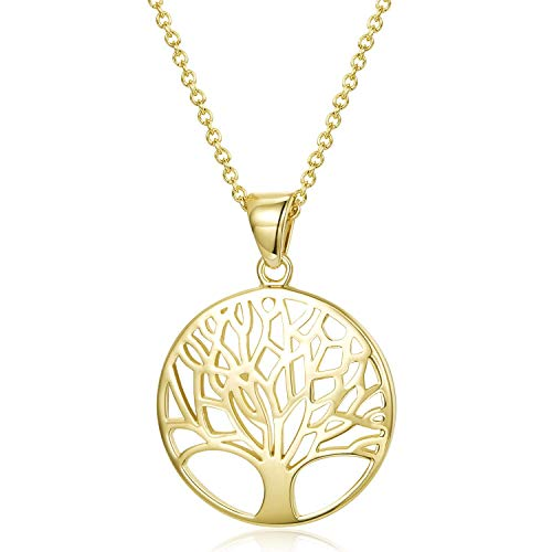 Agvana Yellow Gold Filled Tree of Life Minimalist Pendant Necklace Ideal Gifts for Women Girls