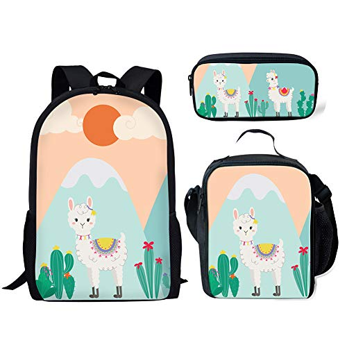 (FANCOSAN Cactus Alpaca Designs Backpack Set,Kids Insulated Thermal Lunch Bags School Backpack Pencil Pouch 3 Piece)