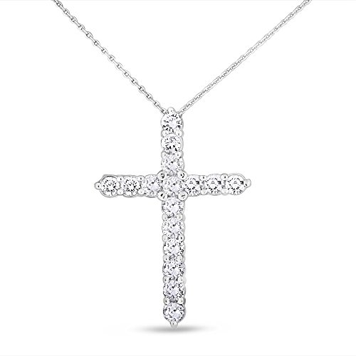 Super Fine Diamond Necklace (2.25 CT Natural Superfine Diamond Cross Pendant with Chain in Solid 14k White Gold)