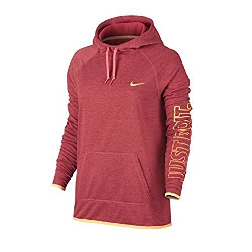 Nike Womens Dry Training Pullover Hoodie Sweatshirt Birch Heather/Ember Glow/Peach Cream (L)