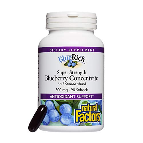 BlueRich by Natural Factors, Super Strength Blueberry Concentrate, Antioxidant Support for Overall Good Health, 90 softgels (30 servings)