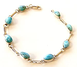 Caribbean Larimar Sterling Silver .925 Links Bracelet w/ 8 Gemstones from Caribbean Amazing