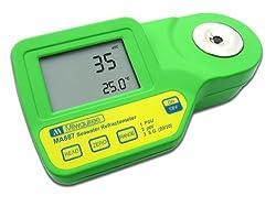 Milwaukee MA887 Digital Salinity Refractometer with Automatic Temperature Compensation, Yellow LED, 0 to 50 PSU, +/-2 PSU Accuracy, 1 PSU Resolution