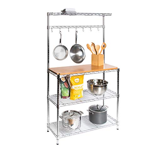 Seville Classics Bakers Rack Kitchen Workstation with Rubber Wood Top