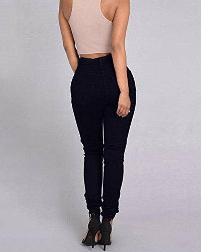 Leggings Denim Jeans Stretch Strappato Sottili Nero Matita Pantaloni Donna Lunghi 58OSx5