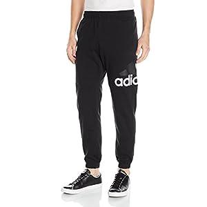 adidas Men's Essentials Performance Logo Pants, Black/White, Medium