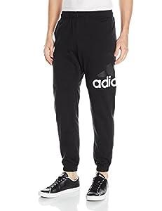 adidas Men's Essentials Performance Logo Pants, Black/White, Medium/Short