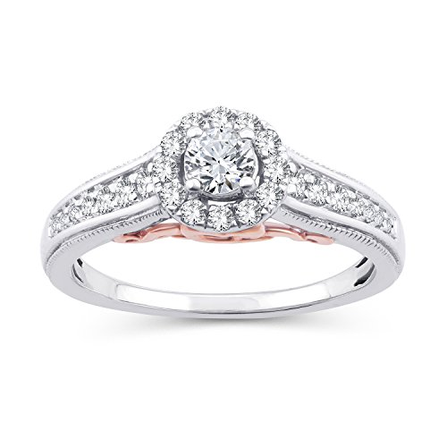 (0.50 Ct.Wt. Two-Tone Round Diamond Halo Cathedral Engagement Ring in 10K White Gold (IJ/I2-I3) (6))